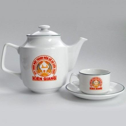 Bộ Ấm Trà Minh Long Jasmine Xanh Lá In logo