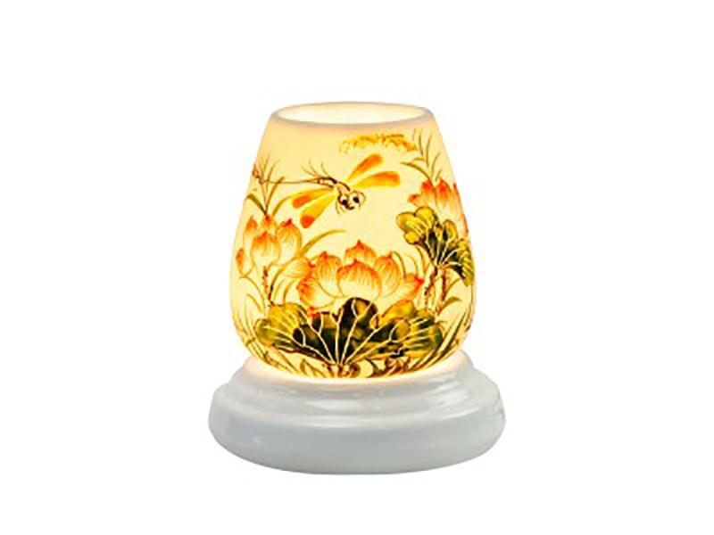 Đèn xông tinh dầu vẽ chuồn chuồn và hoa sen – Gốm sứ Bát Tràng