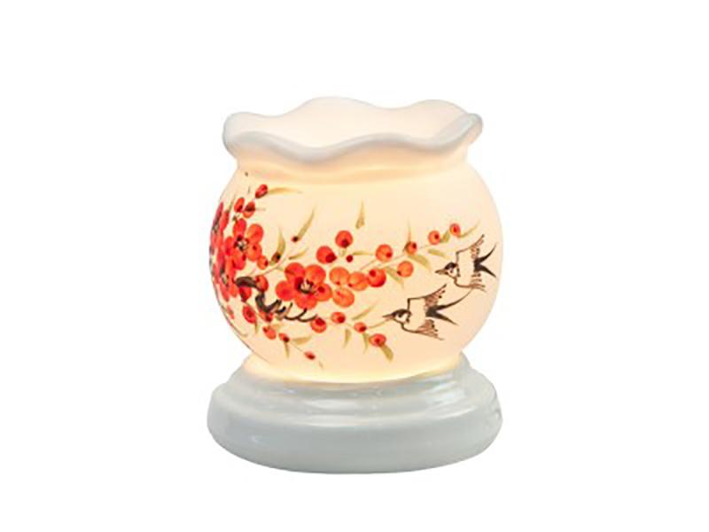 Đèn xông tinh dầu vẽ chim hoa cổ loe – Gốm sứ Bát Tràng