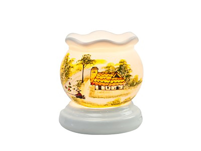 Đèn xông tinh dầu vẽ nhà ngói cổ loe – Gốm sứ Bát Tràng