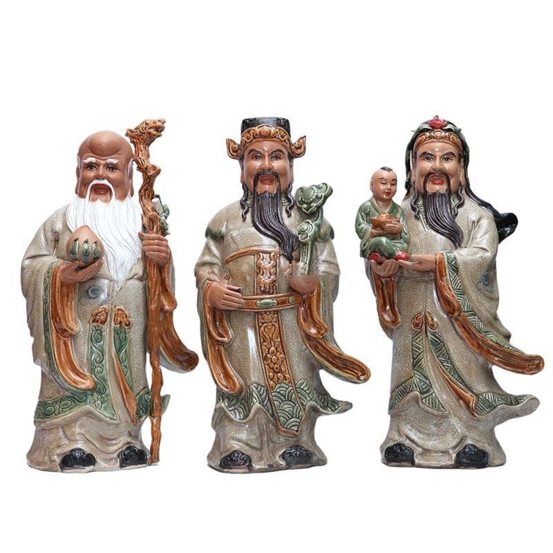 Tượng Gốm Tam Đa – Men Rạn – Gốm Sứ Bát Tràng