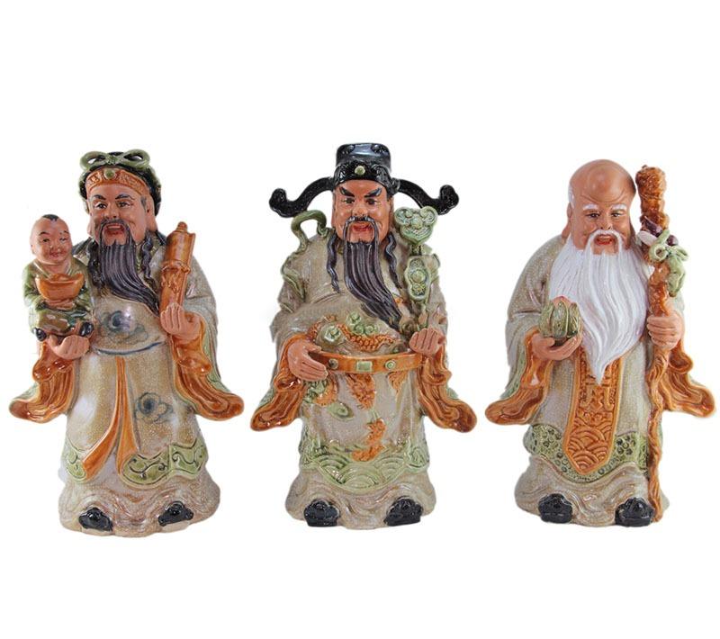 Tượng Gốm Phúc Lộc Thọ – Men Rạn Cổ – Cao 35cm – Bát Tràng