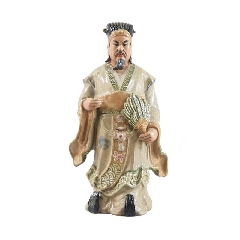 Tượng gốm Khổng Minh – Men Rạn 80cm – Gốm Sứ Bát Tràng