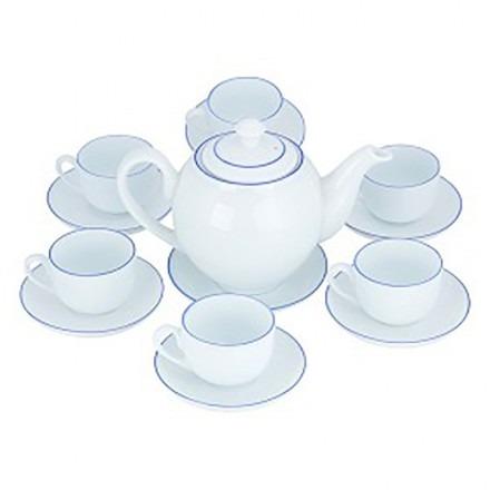 Bộ ấm trà gốm sứ Bát Tràng chỉ xanh dương