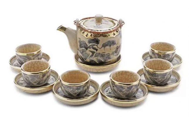 Bộ ấm trà Bát Tràng Men Rạn Bọc Đồng 600ml
