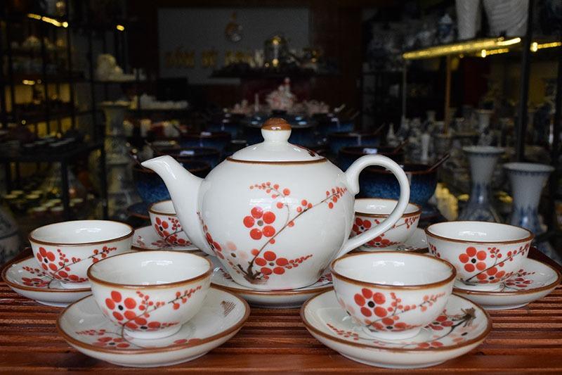 Bộ ấm trà Bát Tràng Men Bóng Vẽ Hoa 500ml