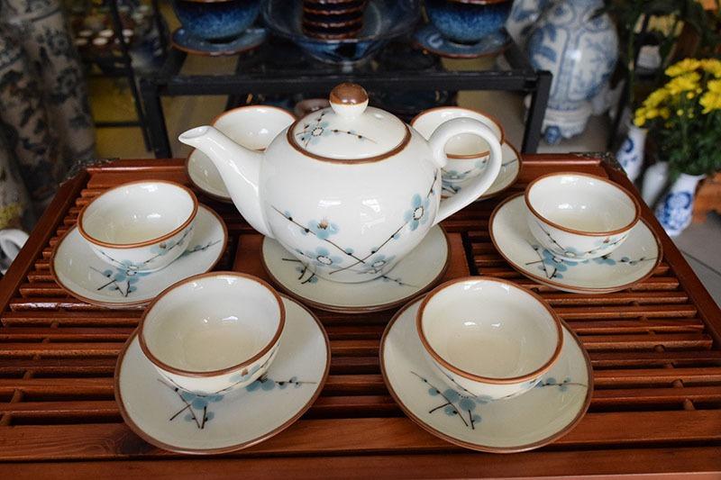 Bộ ấm trà Bát Tràng Men Bóng Vẽ Hoa Đào 500ml
