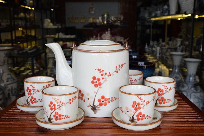 Bộ ấm trà Bát Tràng Tích Cao Men Bóng 1.1L