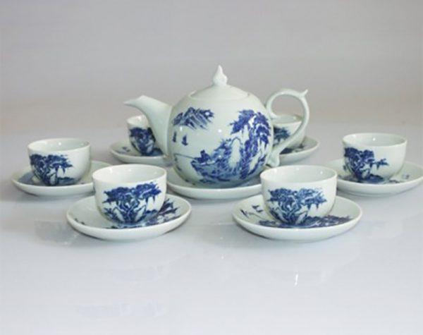 Bộ ấm trà gốm sứ Bát Tràng chóp lửa lã vọng men lam