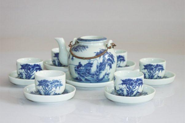 Bộ ấm trà Bát Tràng Nắp Lõm 450ml