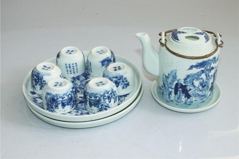 Bộ ấm trà Bát Tràng Tích Trúc Lâm Thất Hiền 800ml