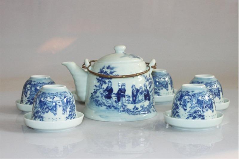 Bộ ấm trà Bát Tràng Trúc Lâm Thất Hiền 1L