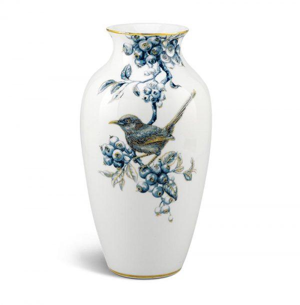 Bình hoa Minh Long , Bình hoa Minh Long - Chích Chòe và Quả Quất - Cobalt Vàng