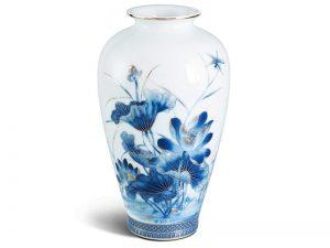 Bình hoa Minh Long, Bình hoa Minh Long 27 cm - Sen Vàng - Men ngọc