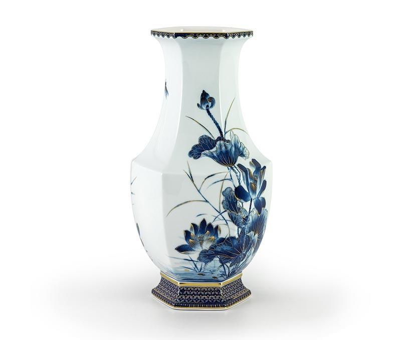 Bình hoa Lộc Phát 28 cm – Sen Vàng Nền Xanh Ngọc
