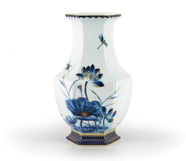 Bình hoa, Bình hoa Lộc Phát 28 cm - Sen Vàng Nền Xanh Ngọc