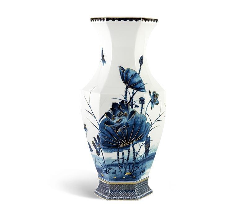 Bình hoa Minh Long, Bình hoa Minh Long Lộc Phát - Sen Vàng Nền Trắng