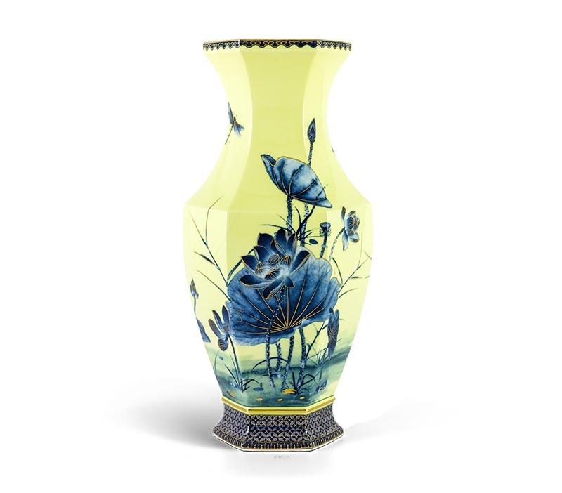 Bình hoa Minh Long, Bình hoa Minh Long Lộc Phát - Sen Vàng Nền Vàng - Cao 40cm