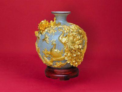 Bình Hoa, Bình Hoa Tài Lộc Đắp Nổi Men Rạn Chim Công Vàng S1