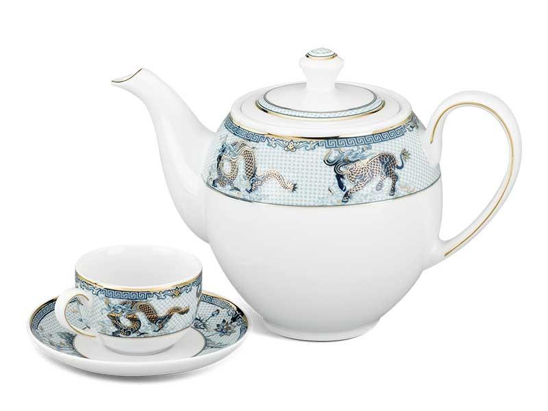 Bộ ấm trà Minh Long Camellia Tứ Linh 0.8L