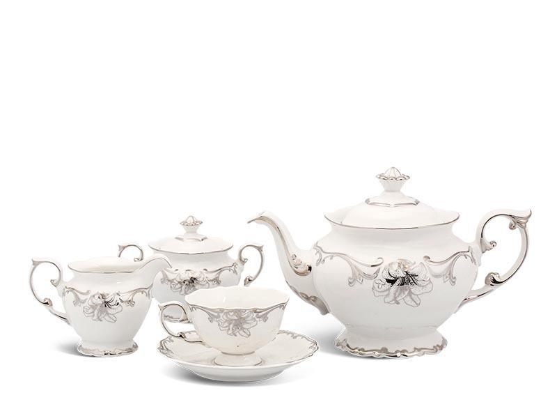 Bộ trà Minh Long Đài Các Trang trí Bạch Kim 1.3L