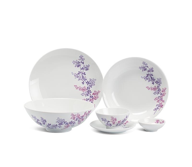 Bộ bàn ăn Minh Long Daisy Cỏ Tím – 36 sản phẩm