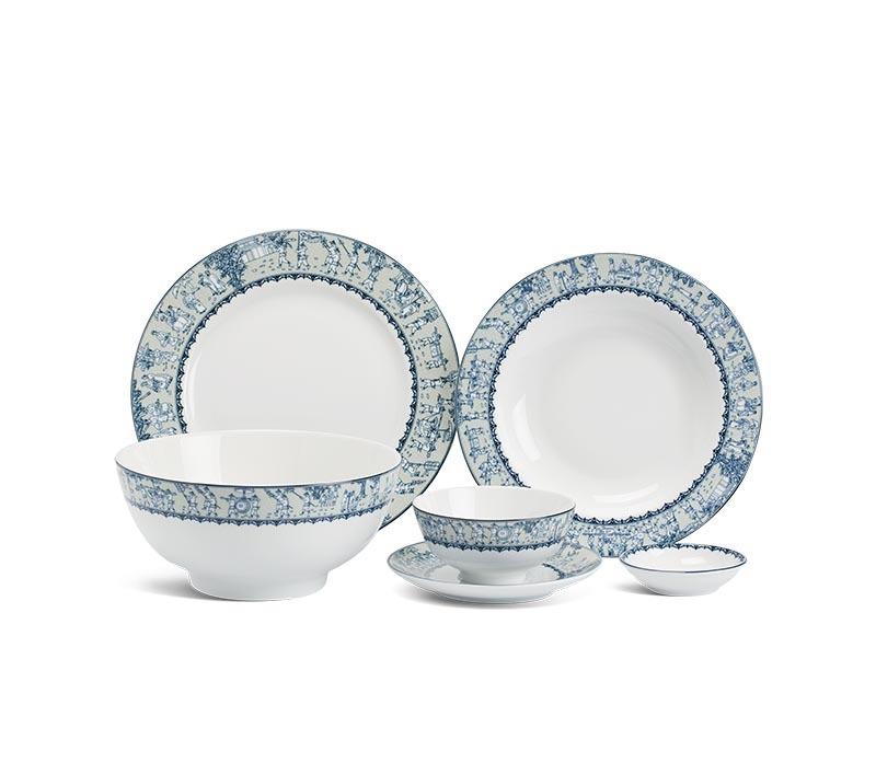 Bộ bàn ăn Minh Long Jasmine Vinh Quy Nhạt – 22 sản phẩm