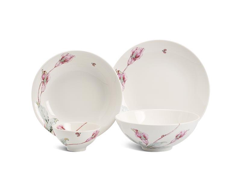 Bộ bàn ăn Minh Long Daisy IFP Loa Kèn Hồng – 9 sản phẩm