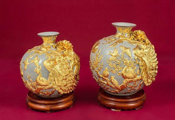 Cặp Bình Hoa, Cặp Bình Hoa Tài Lộc Chim Công Vàng