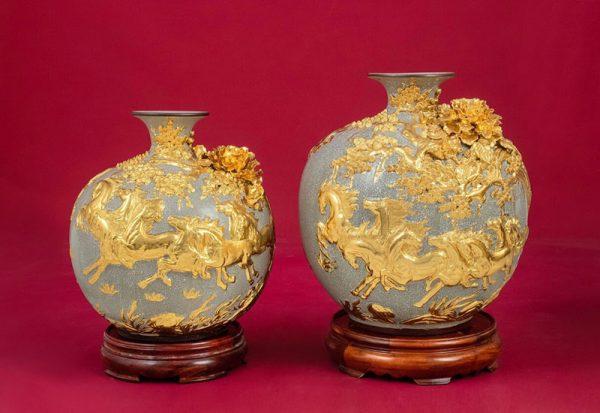 Cặp Bình Hoa, Cặp Bình Hoa Tài Lộc Ngựa Vàng - Bát Tràng