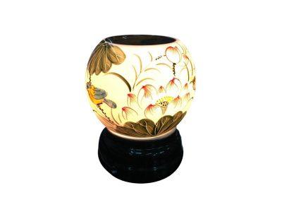 Đèn Xông Tinh Dầu Bát Tràng Tròn S1- Hoa Sen