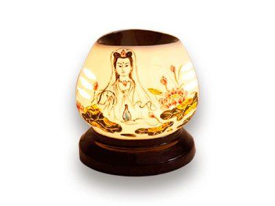Đèn Xông Tinh Dầu Bát Tràng Tròn S1- Phật Quan Âm
