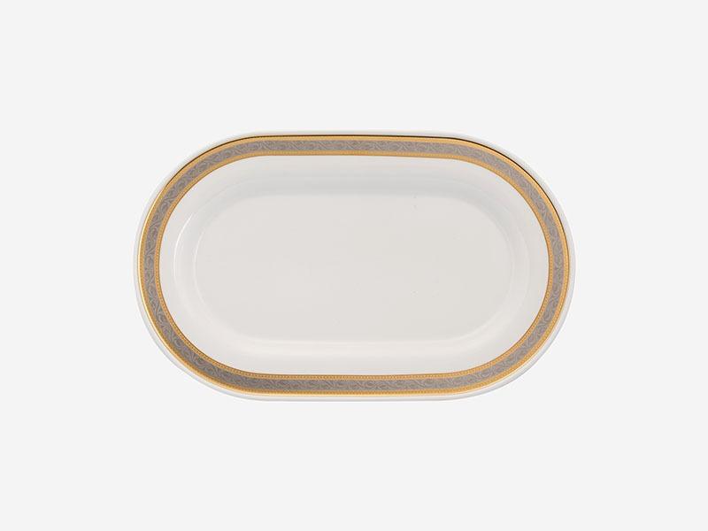 Dĩa oval Minh Long Sago Hoa Hồng 34cm